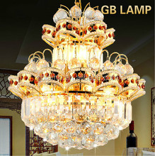 Large gold crystal LED pendant lamp, contemporary led crystal lamp