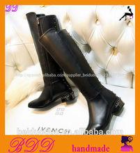 suela de goma botas de cuero de las mujeres