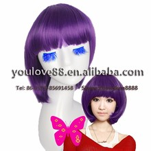 Cosplay Wig synthetic hair short straight purple bobo wig for cheap wholesale