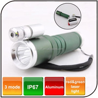 Multi-function outdoor emergency Aluminum mini torch waterproof high power rechargeable red and green led laser flashlight