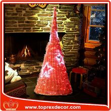 LED outdoor lighted rattan cone christmas tree decorating