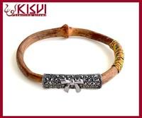 China wholesale 925 Tai silver kit natural rattan bracelet, Caulis Spatholobi bangle