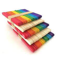 flat wooden craft sticks with various size and color , wooden stained colored stick
