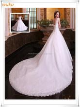 Sweatheart Rhinestones Crystals Beaded Organza Catheral Train Luxury Bridal Wedding Dress
