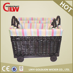 New products! wicker storage basket type home use with wheels handles and liner