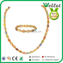 2014 China Fashion Wholesale colorful crystal stone rose gold plated jewelry sets