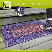 Hot new fashion design flocking rubber commercial welcome mats