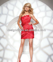 2013 New Style Sexy Strapless Beads&Sequins Flower Bandage Short Red Cocktail Dress