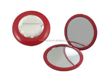 Double sides plastic round wholesale pocket mirrors with crystal