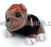 personalized logo imprinted custom mascot beanbag plush soft stuffed Bikers Bulldog black tshir shirt dress bandana t-shirt bib