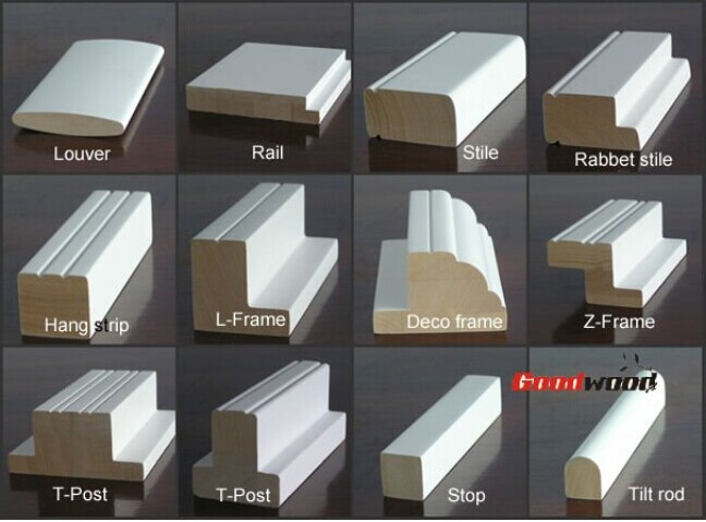 Primed Plantation Shutter Frame Solid Wood Window Profiles - Buy ...