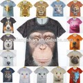 2015 hot! caliente 2014 OEM Mens Womens 3D animales gato leopardo tigre Dinosaur camiseta Round Top T Shirt