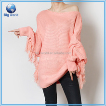 Wholesale high quality fashion cable knit sweater poncho, pullover sweater poncho, women sweater poncho tassles design