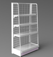 Hot selling 4 tiers metal strong style grocery store display rack wire mesh display stand