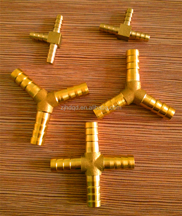 Brass fitting coubling tee connector cross type