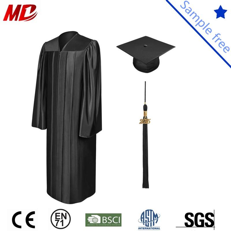Black shiny graduation cap and gown_