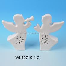 2015 popular ceramic ornament,white porcelain angel figurine for led light