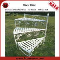 New Style 56W x 31D x 66Hcm Garden Decorative 3 Tier Metal Etagere White Iron Flower Plant Pot Stand