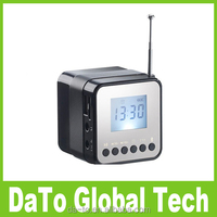 Free Shipping Mini Multimedia LCD Bluetooth Speaker With Alarm Clock FM Time Display