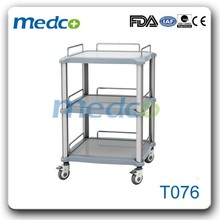 Good sale SUS top surgical instrument trolley with rails T076