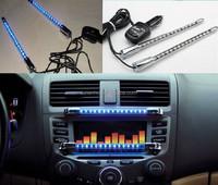 2pcsx Blue 15LED Car Sound Effect Control Music Sensor Light Chain LED Light 12V