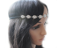 Fashion Women's Hot New Silver Crystal Rhinestone Flower Elastic Hair Band Headband teardrop Hair Accessories