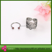 New lace flower female models, 2 piece set ring hollow retro pattern ring jewelry