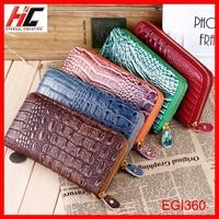 Fashion women long wallet heavy duty PU leather wallet alligator grain with tote belt