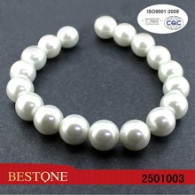 12 mm blanco de cristal redonda de la perla del filamento del grano