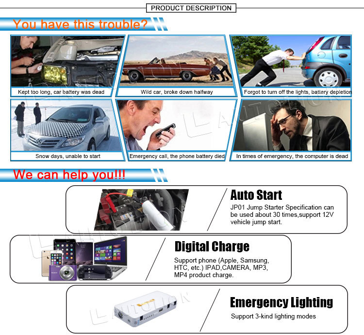 New product factory sale 12v mini car battery booster battery jump starter tire pump for cars phones laptop