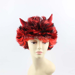Red & Orange Short Haired Halloween Wig with Red Sequinned Devil Horns synthetic afro curly hair Wig