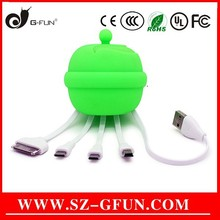 4 in 1 silicone + TPE multi usb cable little bell designs Shenzhen original manufacture