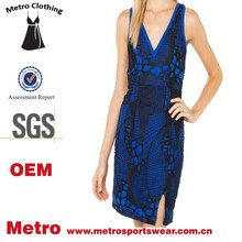 Custom made ladies sleeveless sexy blue dress