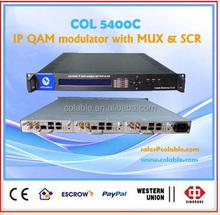 catv 8 channel digital tv modulator qam modulator with multiplexer and scrambler COL5400C