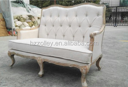 Franse houten woonkamer stoffen bank/klassieke vintage loveseat ...