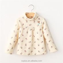 SFK150810 European Children Clothing Shirt 2015 Kids Baby Girl Long Sleeve High Collor Flower Cotton T Shirt
