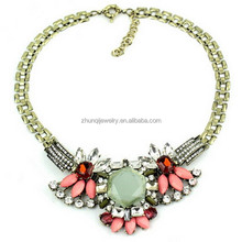Fashion alloy jewelry shourouk necklace Chunky crystal statement necklace Wedding Occasion clover ZQN-510
