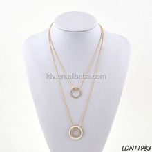 Fashion crystal circle round 2 layers long chain necklace hot sell jewelry