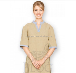 Newest 100% cotton beauty salon and spa uniform custom spa uniform