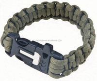 whistle clasp outdoor survival 550 paracord bracelet with flint fire starter