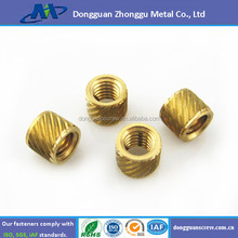 China manufacture precision brass stainless steel knurled insert nut used mechanical devices