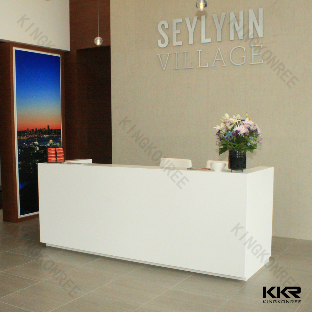 Round edges concrete reception desk