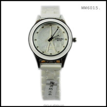 China supplier small moq wholesale white ceramic watch band eiffel tower stainless steel watch 2015