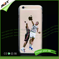 Clear tpu phone case for iphone 6 NBA basketball star design printed tpu case for iphone 6 plus