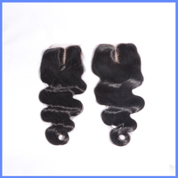 Qingdao Factory Price Indian Remy Human Hair, 4x4 Middle Part Body Wave Human Hair Lace Closure