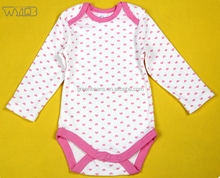 New design wholesale children's boutique clothing new born baby girl clothes cotton pink heart long sleeve jumpsuit