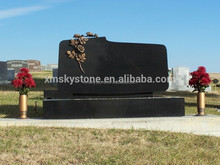 Bronze Flower Carving Unique Design Absolute Granite Upright Headstone