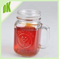 W~Jars with wooden lids mason jar mason jar lids // Wholesale competitive price summer cold drinking glass mason jar with handle