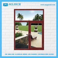 China low price surface treatment for Wooden brown aluminum windows