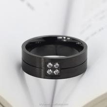 fashion black diamond stainless steel ring, double ring titanium ring(SWTJU657)